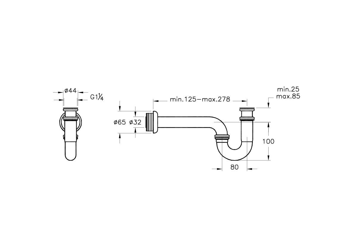 Сифон для мойки VITRA  A45117EXP смесители для ванной грое с длинный излив купить